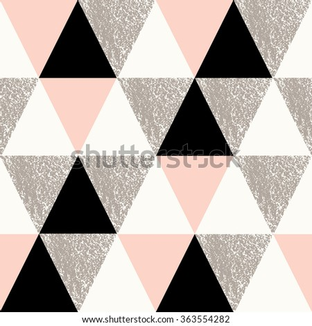 Abstract geometric seamless repeat pattern in black, white, taupe and pastel pink.. Modern and stylish abstract design poster, cover, card design. - stock vector