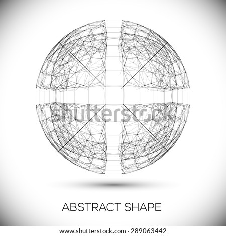 Abstract geometric shape. Round composition of the molecular lattice. Monochrome vector composition for your design. - stock vector