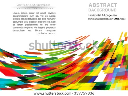 Abstract geometric shapes background and brochure cover template. (Horizontal A4 page size) - stock vector