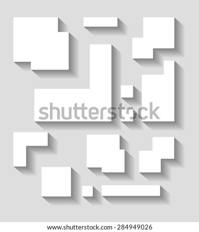 Abstract geometric shapes vector  decor with shadow on a gray background.