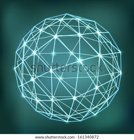 Abstract geometric sphere composition with glowing points - stock vector