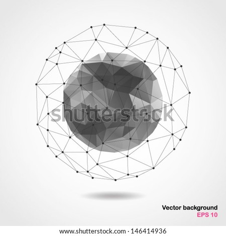 Abstract geometric spherical shape from triangular faces for graphic design. - stock vector