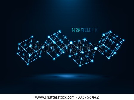 Abstract geometric technology shape of glowing particles .Vector digital 3d illustrations .Neon luminous lines.Cube wireframe in perspective.Futuristic background .Neon geometric object . Cubes set  . - stock vector