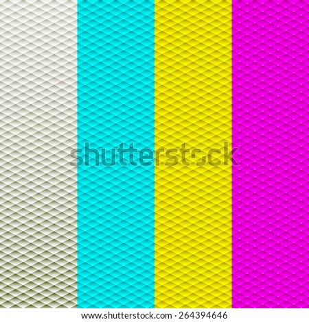 Abstract geometric triangle seamless patterns set. Vector illustration art - stock vector