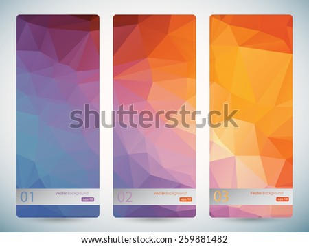 Abstract geometric triangular banners set eps10 - stock vector
