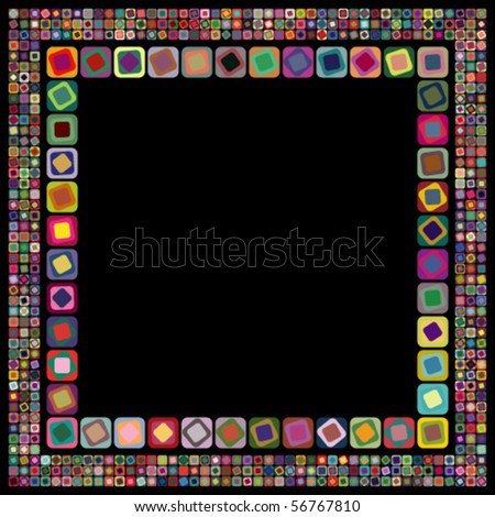 Abstract geometric vector frame on black background - stock vector