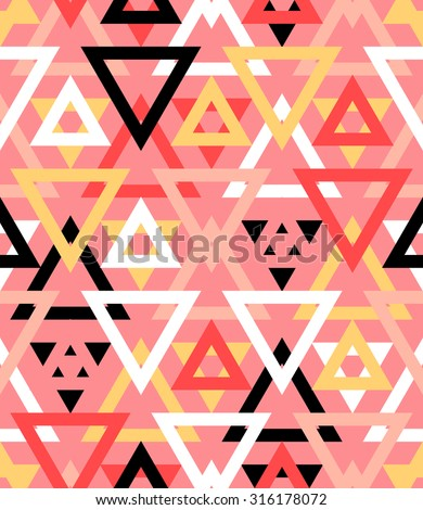 Abstract geometric vector pattern in natural multiple brown colors. Elegant vector background with geometric shapes triangles and chevrons. Bold print for winter fall fashion, paper. Seamless texture - stock vector