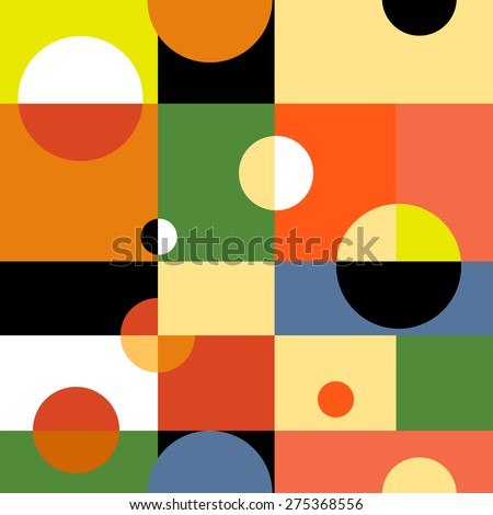 Abstract geometric vector seamless background. Illustration for web design, prints etc. Rectangles and circles modern pattern. - stock vector
