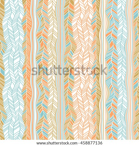 Abstract geometric wavy stripes background. Vector seamless bright colorful pattern. - stock vector