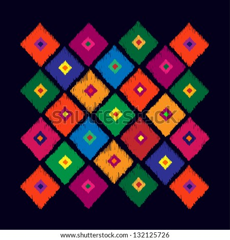 Abstract geometrical pattern from rhombus on black background. Tribal vector pattern. Hand drawn abstract background. Multicolored bright background. Vector illustration look like hand made carpet. - stock vector