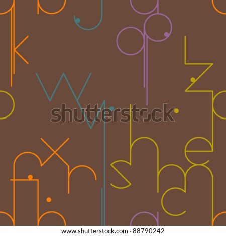Abstract geometrical seamless pattern with letters - stock vector