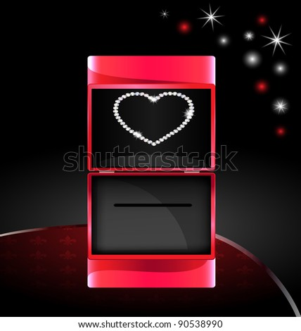 abstract gift box with jewelry heart - stock vector