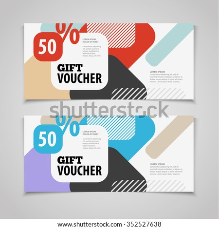 Abstract Gift Voucher Coupon Design Template Stock Vector