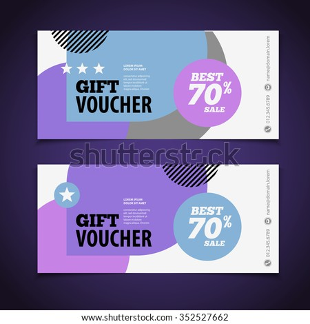 Abstract Gift Voucher Or Coupon Design Template Blank Print Vector Flyer  Coupon Flyer Template