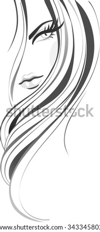Abstract girl with long beautiful hair. Hairs vertical banner - stock vector