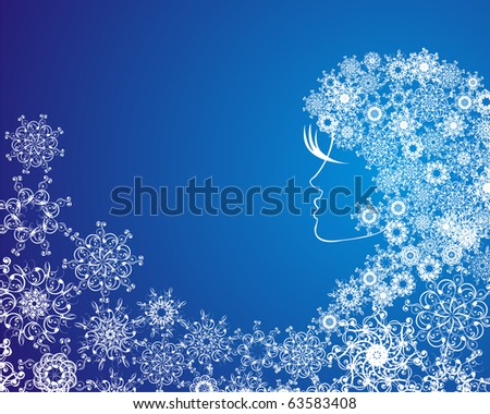 Abstract girl with snowflakes in hair. Grunge vector  illustration on blue christmas background with abstract elements, snowflakes. - stock vector