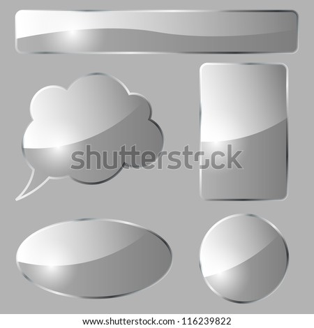 Abstract glass design vector elements isolated on gray background. - stock vector