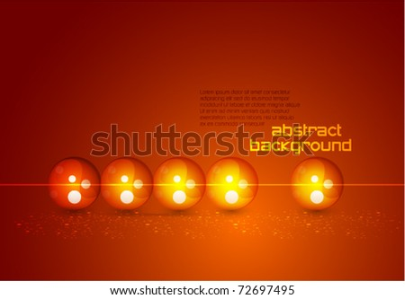 Abstract glass spheres in a row. Vector illustration - stock vector