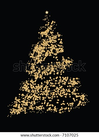 Abstract glitter Christmas tree on black background - stock vector