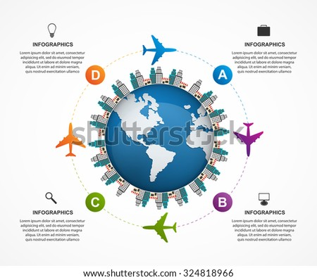 Abstract global airplane infographics design template. Can be used for websites, print, presentation, travel and tourism concept.