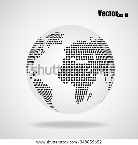 Abstract globe earth of round dots. Vector illustration. Eps 10 - stock vector