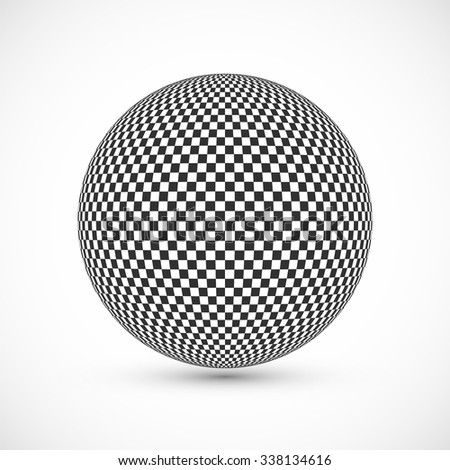 Abstract Globe Halftone Background Design. Black and White Checkered Sphere. Technology Business Concept. Vector Illustration. - stock vector