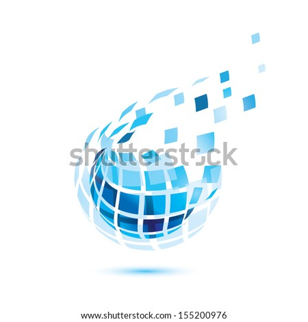 abstract globe icon, business and communication concept - stock vector