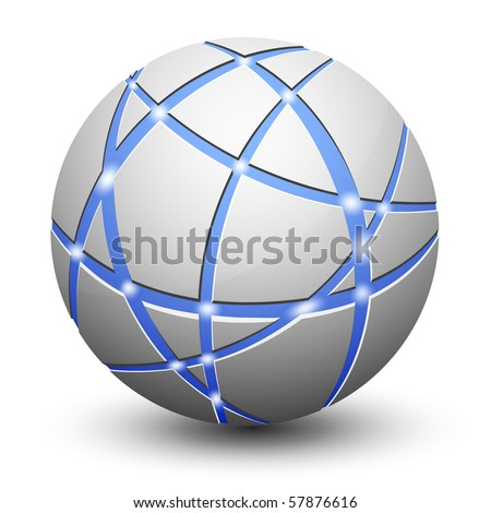 Abstract Globe Icon. Communication and Network Concept. - stock vector