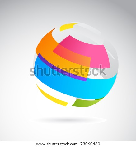 Abstract globe icon made from color ribbons - stock vector