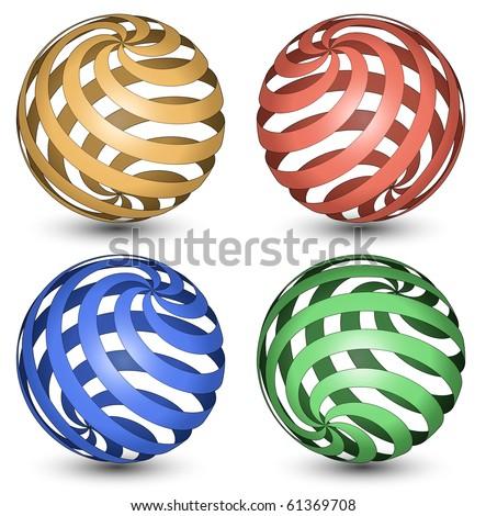 Abstract Globe Icon. Spiral - stock vector