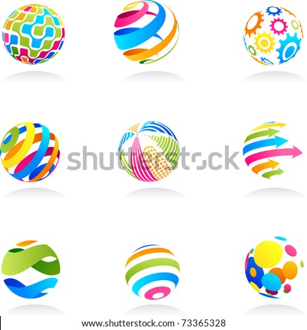 Abstract globe icons - stock vector