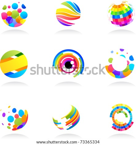 Abstract globe icons collection - stock vector