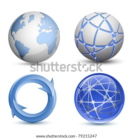 Abstract Globe Icons Set. Vector Illustration - stock vector