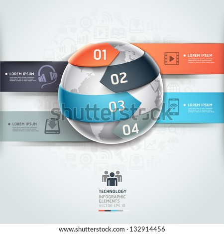 Abstract globe infographics network technology element template. Vector illustration. can be used for workflow layout, diagram, number options, step up options, web design, banner. - stock vector
