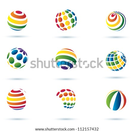 Abstract globe multicolor vector icons - stock vector