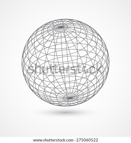 Abstract globe sphere from gray lines on white background. Vector illustration - stock vector