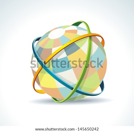 Abstract globe symbol internet and social network concept. Isolated vector icon. - stock vector