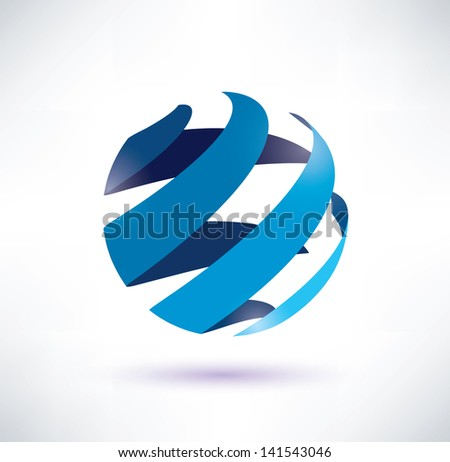 abstract globe symbol, isolated vector icon, internet and social network concept - stock vector