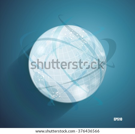 Abstract globe symbol with smooth vector shadows and  map of the continents of the world, isolated vector icon, internet and social network concept - stock vector