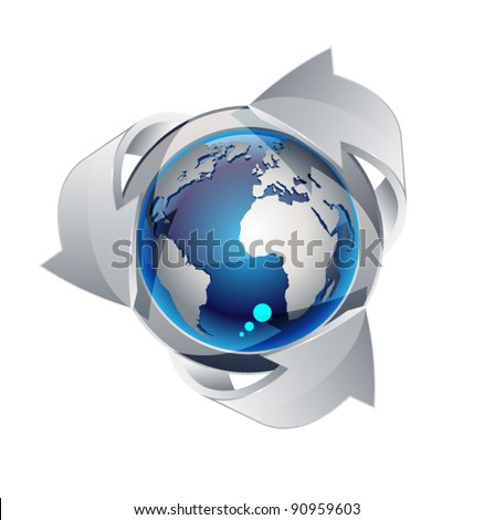 Abstract globe with arrows