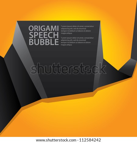Abstract glossy black and orange origami speech bubble. Vector abstract background. Orange brochure. - stock vector