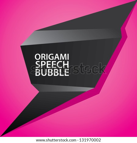 Abstract glossy black and pink origami speech bubble. Vector abstract background. Vector brochure design. lovely background