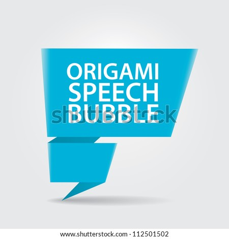 Abstract glossy blue origami speech bubble. Vector abstract background. - stock vector