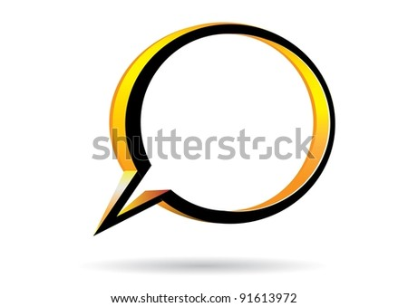 Abstract glossy 3d speech bubble on white. Vector illustration.