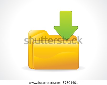 abstract glossy download icon vector illustration - stock vector