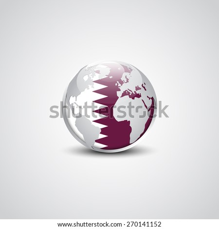 Abstract glossy globe in background Qatar flag | Vector flag button