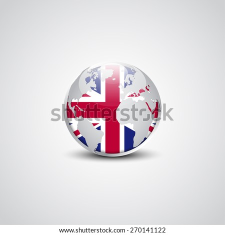 Abstract glossy globe in background United Kingdom flag | Great britain UK Vector flag button - stock vector