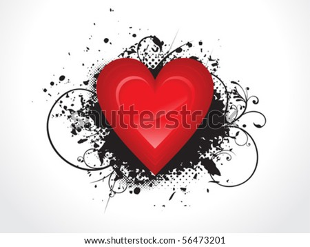 abstract glossy heart with grunge vector illustration - stock vector