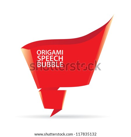 Abstract glossy red origami speech bubble. Vector red abstract background. red brochure template design. - stock vector