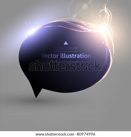 Abstract glossy speech bubble vector background with fire - stock vector